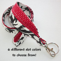 Lanyard  ID Badge Holder - Lobster clasp and key ring - design your own - black damask - red pin dots - two toned double sided