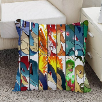 pokemon Pillow case size 16 x 16, 18 x 18, 16 x 24, 20 x 30, 20 x 26 One side and Two side