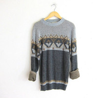 vintage retro sweater. oversized sweater. gray and brown pullover. M