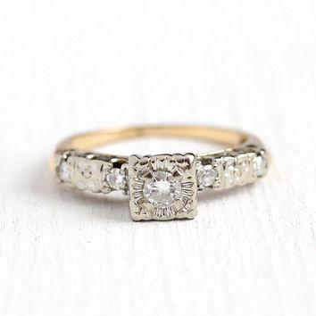 Vintage Diamond Ring - 14k Rosy Yellow & White Gold .21 CT Diamond Engagement - Size 3 3/4 Art Deco Two Tone 1940s Wedding Flower Jewelry