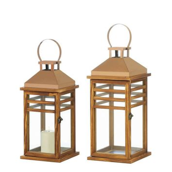 Small and Large Contemporary Rose Gold Top Lanterns