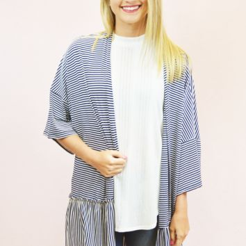 Striped Kimono - Navy/Off-White