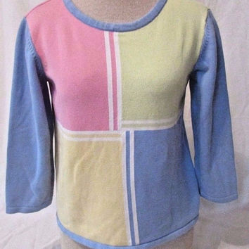 Talbots Sweater Women's Small Pullover Pastel Colors Crew Neck 3/4 Length Sleeve