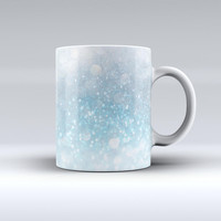 The Unfocused Abstract Blue Rain ink-Fuzed Ceramic Coffee Mug