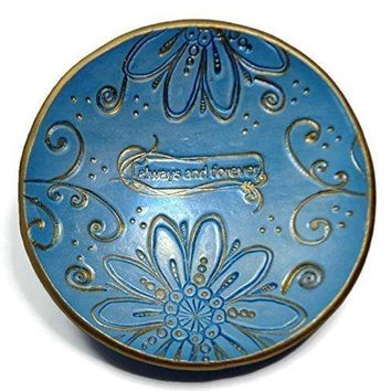 "Blue Satin Wedding Ring Dish-Boho Trinket Dish- Polymer Clay Dish, ""Always & Forever"" Gifts for Her Anniversary, Engagement, Bridal"