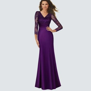 Ladylike Purple Elegant Women Deep V Sexy maxi Dress Elegant Celebrity Lace Mesh Evening Gown Women Smooth Satin Robe HA019