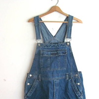 20% OFF SALE / 90s Bib Overalls jean shorts. bibs shorts. Women's dungarees.