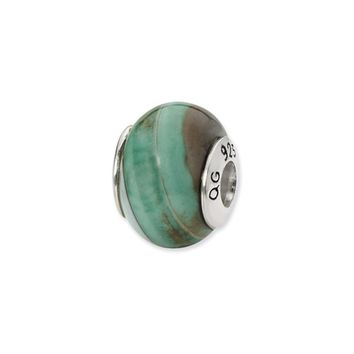 Light Blue Agate Stone Bead & Sterling Silver Charm, 15mm