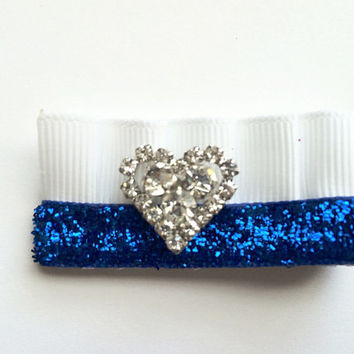 Autism awareness white and blue ruffled heart hair clip, Light it up blue, autism hair clip, autism speaks, blue and white, baby hair clip