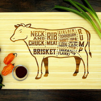 Cuts of Beef Cutting Board (Pictured in Natural), approx. 12 x 16 inches, laser engraved, bamboo wood, Wedding or Anniversary gift