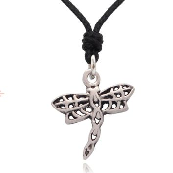 Dragon Fly Necklace Pendant Jewelry With Cotton Cord