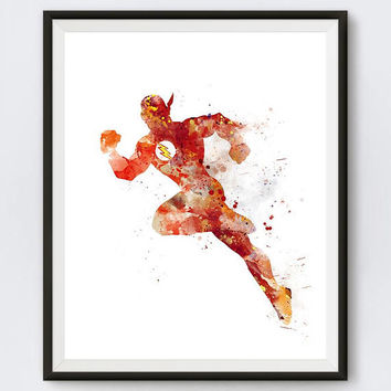 The Flash Art Print Flash Poster DC Comics Illustration Watercolor Wonder Woman Superhero Painting Gift idea Kids Wall Art Download Comics