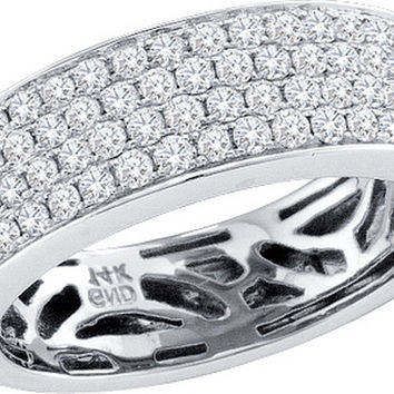 14kt White Gold Womens Round Pave-set Diamond Comfort Wedding Band 1.00 Cttw 52312