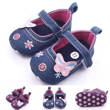 Toddler Newborn Baby Girl Soft Sole Crib Shoes Butterfly Anti-slip Shoes