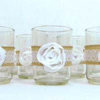 Candle Holder Votive TeaLight Burlap and Lace Rustic Wedding, Bridal Shower, Baby Shower Event Shabby Chic Flower Rhinestone Set of 8