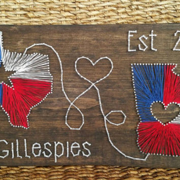 Two State String and Nail Art, State Flag Colors, Custom Last Name Sign, Anniversary Date,