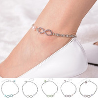 1PC Sexy Simple Crystal Infinity Heart Anklet Bracelet Foot Chain Hot Jewelry = 5658246209