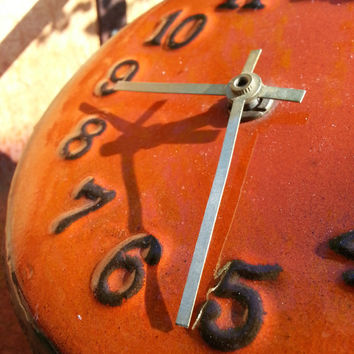Retro vintage orange ceramic desk clock.. made in Germany..