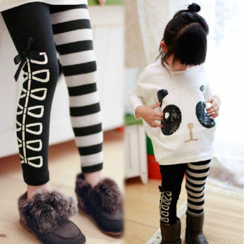 Girls 2Pcs Outfits Panda Long Sleeve Tops+Striped Pants Kids Baby Clothing Sets