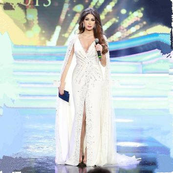 Long Dubai Mermaid Evening Dresses With Cape Deep V-neck Slit Front Formal White Evening Gowns 2016
