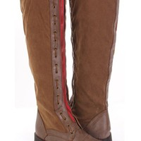 Camel Faux Leather Suede Woven Lace Zip Tall Flat Boots