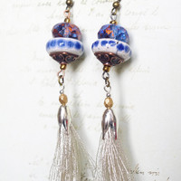 Tassel Earrings, Silver blue Earrings, Textile and ceramic Earrings, Tassel Jewelry, Gipsy Fringe Earrings, Boho