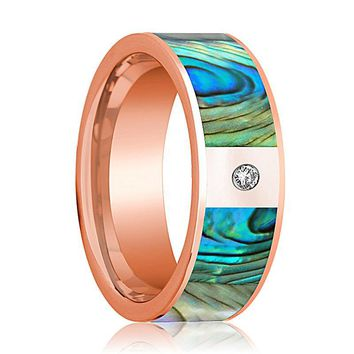 Mens Wedding Band 14K Rose Gold with Mother of Pearl Inlay and Diamond Flat Polished Design