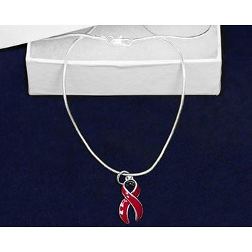 Heart Disease Awareness Red Ribbon Necklace Ribbon
