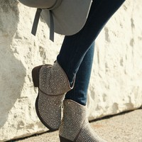 Extra Sassy Jeweled Bootie (Taupe)