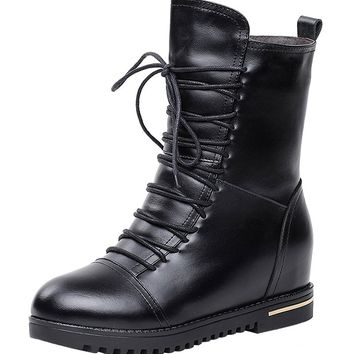 MILANAO Christmas Winter Leather And Wool Warm Fashion Black Female Martin Boots