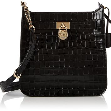 Michael Kors Hamilton medium messenger croc crossbody bag Black New