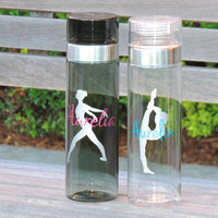 gymnastics water bottle, dance water bottle, personalized water bottle, sport water bottle, large water bottle, plastic water bottle, ballet