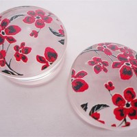 Clear Cherry Blossom Plugs (2 gauge - 1 inch)
