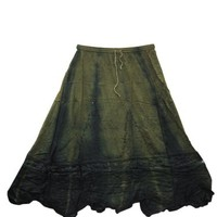 Womans Maxi Skirt Rayon Stonewashed Ari Embroidered Dark Green Long Skirts: Amazon.com: Clothing