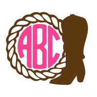 Boot Monogram Decal - Cowgirl Monogram Decal - Southern - Perfect for Yeti, RTIC, Tumbler, Jeep, Truck, Car and More!