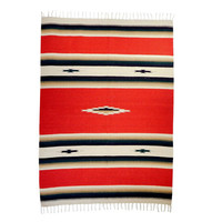 Red Southwestern Mexican Throw Blanket : Falsa Mexican Blanket, Baja Blanket, Tapestry, Southwestern, Vintage Blanket