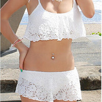 White Floral Crochet Strappy Swimsuit
