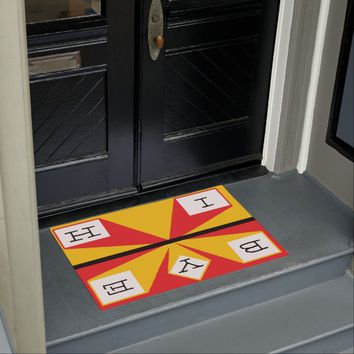 Hi Bye Red and Yellow Doormat
