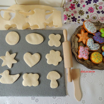 Felt Baking Set, Felt Food, Felt Cookies, Eco friendly childrens pretend play food for toy kitchen. Children's Party, montessori toy