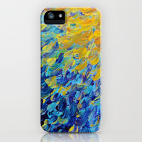 AQUATIC MELODY - Lovely Bright Abstract Ocean Waves Acrylic Painting Colorful Rainbow Beach Gift Art iPhone & iPod Case by EbiEmporium