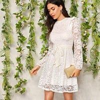 White Zip Back Ruffle Shoulder Belted Short Solid Lace Dress Women  Fit and Flare Empire A Line Elegant Dresses