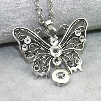 New Butterfly Jewelry Boom Life Snap Buttons Necklaces Link Chain 60CM With Retro Pendant Fit 12MM Snap Buttons Jewlery 7138