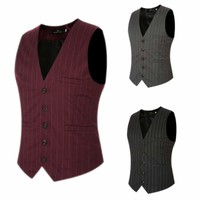 Men's Dress Suit Vest 5 Button V Neck Adjustable Back Strap Formal Waistcoat USA