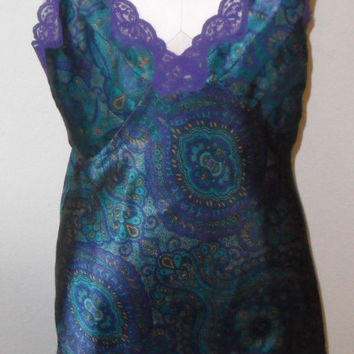 Vintage Chemise Victoria's Secret Paisly Nightgown Nightie Small