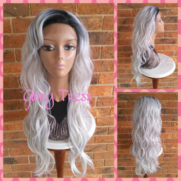 ON SALE // Long loose Wave Lace Front Wig, Dark Rooted Ombre Platinum Silver Wig, Gray Wig //WISDOM (Free Shipping)