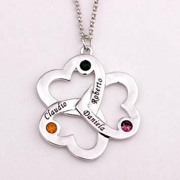 Personalized Triple Heart Pendant Necklace 2016 Birthstone Necklaces Custom Made Any Name Welcome Drop Shipping YP2493