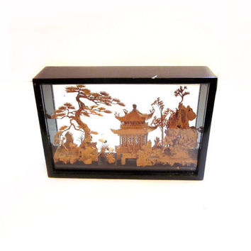Oriental Cork Art Sculpture / Wood Glass Shadow Box Case