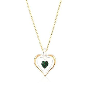 Glass Baron 'May' Birthstone Gold Trim Heart Necklace