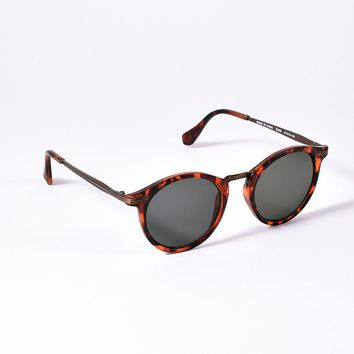 Brown Matte Tortoise Retro Round Possible Mens Sunglasses