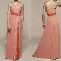 coral prom dresses, chiffon prom dresses, cheap prom dresses, la femme prom dresses, junior prom dresses, coral bridesmaid dresses, BE0372